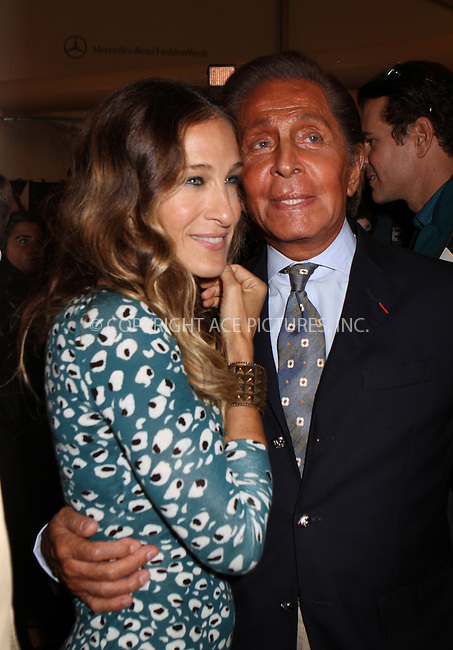 WWW.ACEPIXS.COM....September 9 2012, New York City....Actress Sarah Jessica Parker with Valentino Garavani backstage at Spring 2013 Mercedes Benz New York Fashion Week on September 9 2012 in New York City....By Line: Nancy Rivera/ACE Pictures......ACE Pictures, Inc...tel: 646 769 0430..Email: info@acepixs.com..www.acepixs.com