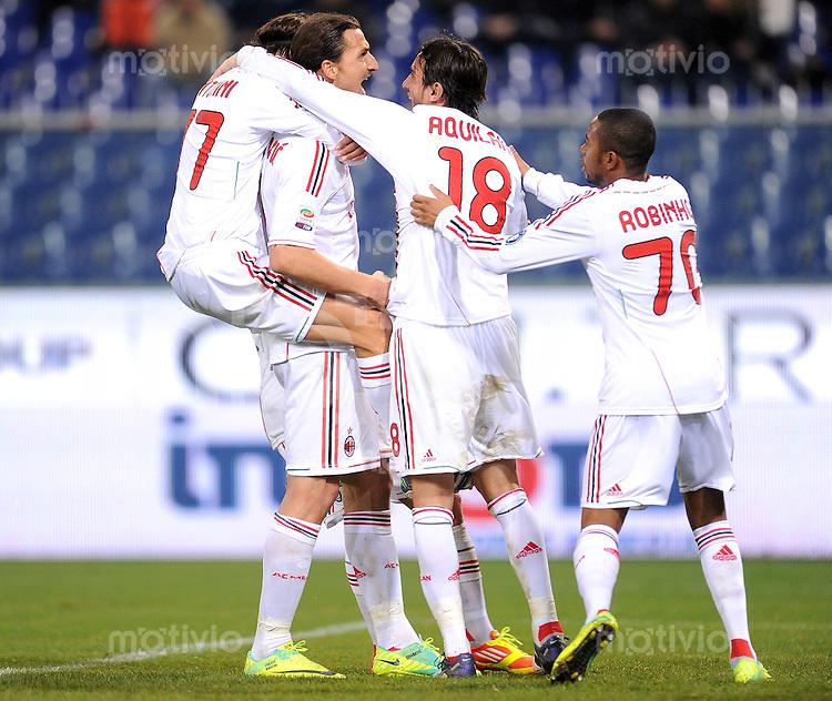 FUSSBALL INTERNATIONAL   SERIE A   SAISON 2011/2012    Genua - AC Mailand   02.12.2011 Zlatan Ibrahimovic, Alberto Aquilani, Robinho (v. li., AC Mailand)