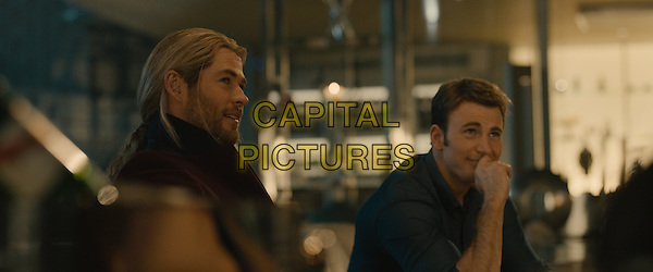 Chris Hemsworth, Chris Evans<br /> in Avengers: Age of Ultron (2015) <br /> *Filmstill - Editorial Use Only*<br /> CAP/NFS<br /> Image supplied by Capital Pictures