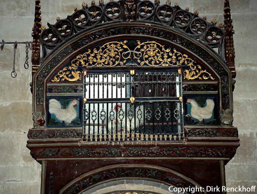 Hühnerkäfig in der Kathedrale, Santo Domingo de la Calzada, La Rioja, Spanien