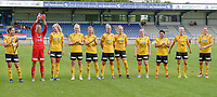 20190807 - DENDERLEEUW, BELGIUM : LSK's  players with Ingrid Moe Wold (2) , Cecilie Fiskerstrand (1) , Nora Marie Egenes (4) , Ina Gausdal (4) , Synne Skinnes Hansen (7) , Elise Thorsnes (11) , Mille Dalen (15) , Therese Asland (16) , Meryll Abrahamsen (21) , Anja Sonstevold (22) and ISabelle Bachor (23) pictured posing for the teampicture during the female soccer game between the Norwegian LSK Kvinner Fotballklubb Ladies and the Northern Irish Linfield ladies FC , the first game for both teams in the Uefa Womens Champions League Qualifying round in group 8 , Wednesday 7 th August 2019 at the Van Roy Stadium in Denderleeuw  , Belgium  .  PHOTO SPORTPIX.BE for NTB  | DAVID CATRY