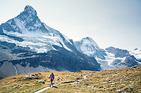 Hiking above Zermatt, Switzerland with the Matterhorn in the background.