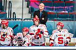 Stockholm 2014-02-24 Ishockey Hockeyallsvenskan Djurg&aring;rdens IF - S&ouml;dert&auml;lje SK :  <br /> S&ouml;dert&auml;ljes tr&auml;nare Andreas Johansson ser nedst&auml;md ut i b&aring;set tillsammans med S&ouml;dert&auml;ljes spelare<br /> (Foto: Kenta J&ouml;nsson) Nyckelord:  depp besviken besvikelse sorg ledsen deppig nedst&auml;md uppgiven sad disappointment disappointed dejected