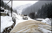 A Danish aid conwoy on the road in the Bosnian mountains .<br /> Photo:Thomas Sj&oslash;rup &copy; 1994
