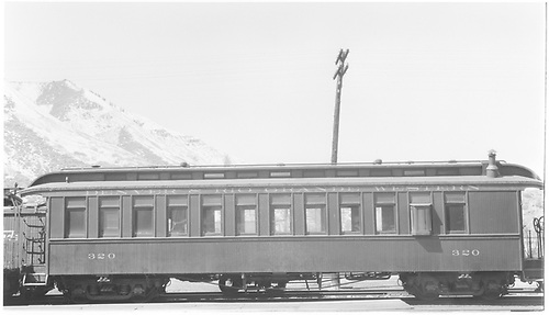 Coach #320 at Durango.<br /> D&amp;RGW  Durango, CO  Taken by Peyton, Ernie S. - 3/1948