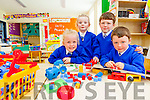 SEEING DOUBLE: Twins Bláthnaid and Rosalyn Buckley (4) and Paddy and Matt Cronin (5) started their first day of school in Ms Farrelly's Junior Infants Class at St. Teresa's Primary School Kilflynn yesterday (Wednesday).