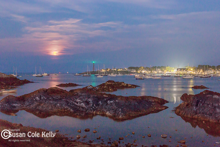 Moonrise over Marblehead Harbor in Marblehead, Massachusetts, USA