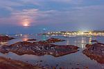Moonrise over Marblehead Harbor in Marblehead, Massachusetts, USA