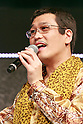 Japanese comedian and singer-songwriter Pikotaro speaks during the launch event for Y!mobile's spring promotions on January 18, 2017, Tokyo, Japan. Y!mobile announced its new mobile devices (MediaPad T2 Pro, Pocket Wifi 603HW, Android One S1 and S2) and discount promotions for young users from February 1st. (Photo by Rodrigo Reyes Marin/AFLO)