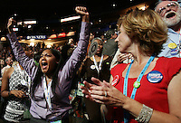 8/27/08 3:04:06 PM -- Denver, CO, U.S.A. -- Democratic National Convention -- .Maisha Everhart, of Okaland, CA, cheers during California's roll call Wednesday at the DNC in Denver, CO. .Photo by Pat Shannahan, Gannett.