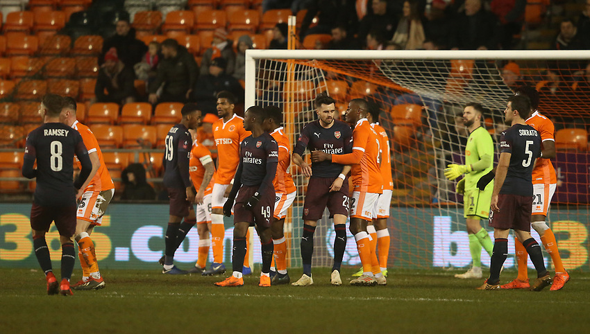 Players jostle for position as they wait for a corner kick<br /> <br /> Photographer Stephen White/CameraSport<br /> <br /> Emirates FA Cup Third Round - Blackpool v Arsenal - Saturday 5th January 2019 - Bloomfield Road - Blackpool<br />  <br /> World Copyright © 2019 CameraSport. All rights reserved. 43 Linden Ave. Countesthorpe. Leicester. England. LE8 5PG - Tel: +44 (0) 116 277 4147 - admin@camerasport.com - www.camerasport.com