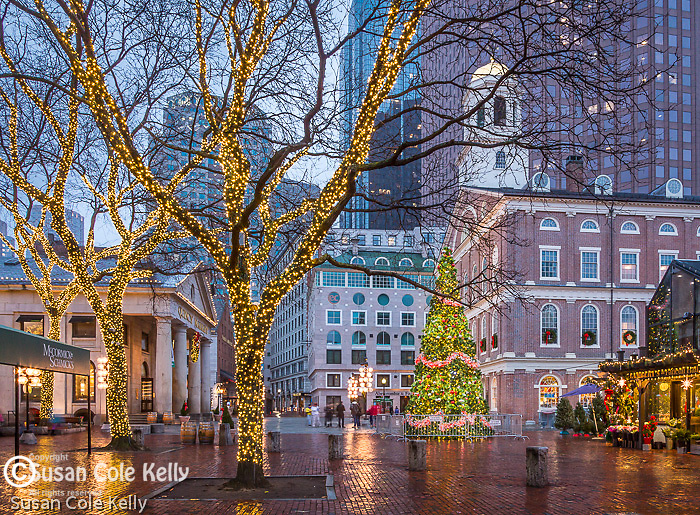 Christmas lights at Faneuil Hall Marketplace in Boston, Massachusetts, USA