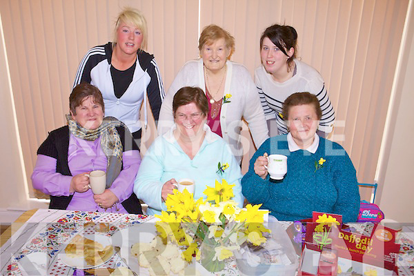 COFFEE: Enjoying a cup of coffee in aid of Daffodil Day at the Ballyheigue Family Resource Centre on Friday morning were front l-r: Margaret Flaherty, Noreen James, Kathleen Moloney. Back l-r: Samantha Drury, Mary Drury, Laura Dineen.