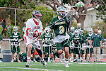 Palos Verdes, CA 04/20/10 - Marcus Egeck (Mira Costa #9) and Tommy O'Hern (Palos Verdes #9) in action during the Mira Costa-Palos Verdes boys lacrosse game.