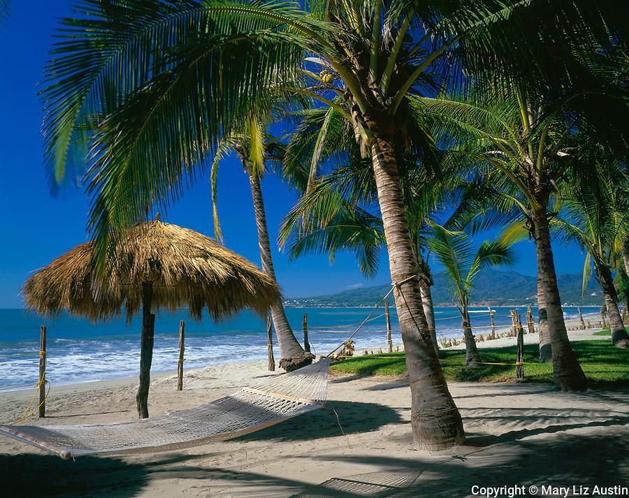 Nayarit, Mexico<br /> Coconut Palms (Cocos nucifera) shade a hammock on the beach of Bahia de Banderas (Banderas Bay) near the village of Bucerias