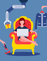 Woman online shopping for fashion from armchair