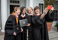Occidental College's 2018 Commencement speakers pose for a selfie: (l to r) Cathie Selleck '55, Maya Soetoro-Ng, Ann Kerr-Adams '56, and Sara El-Amine '07.<br />