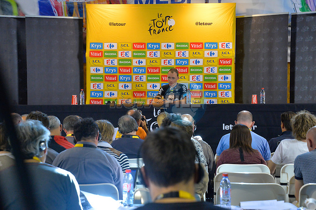 Race leader Christopher Froome (GBR) Team Sky press conference after Stage 20 of the 2015 Tour de France running 110.5km from Modane Valfrejus to Alpe d'Huez, France. 25th July 2015.<br /> Photo: ASO/B.Bade/Newsfile