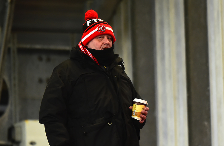 A Fleetwood Town fan looks on<br /> <br /> Photographer Richard Martin-Roberts/CameraSport<br /> <br /> The EFL Sky Bet League One - Saturday 15th December 2018 - Fleetwood Town v Burton Albion - Highbury Stadium - Fleetwood<br /> <br /> World Copyright © 2018 CameraSport. All rights reserved. 43 Linden Ave. Countesthorpe. Leicester. England. LE8 5PG - Tel: +44 (0) 116 277 4147 - admin@camerasport.com - www.camerasport.com