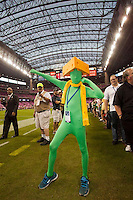 A Green Bay Packers fan shows his stuff as the visiting Green Bay Packers defeated the Houston Texans 42-24 at Reliant Stadium, Oct. 14, 2012