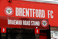 8th February 2020; Griffin Park, London, England; English Championship Football, Brentford FC versus Middlesbrough; General view of the Braemar Road Stand sign outside Griffin Park