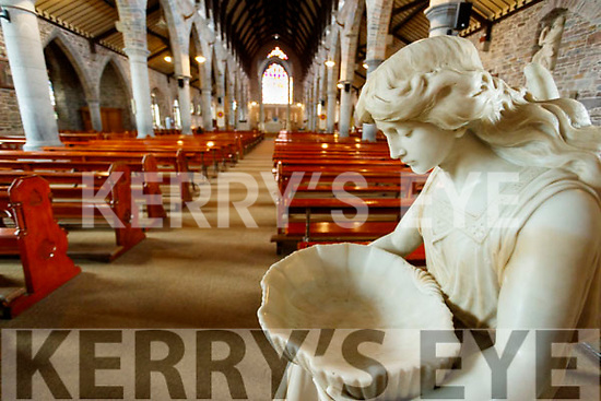 Holy water fonts empty as a safety measure for Coronavirus at  Saint Johns church in Tralee.