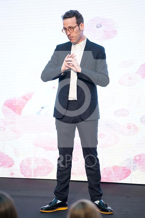 "Host of the ceremony, Joaquin Reyes during the delivery of SM Awards of children's literature ""El Barco de Vapor"" and ""Gran Angular"" at Real Casa de Correos in Madrid. April 19,2016. (ALTERPHOTOS/Borja B.Hojas)"