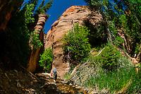 Hiking into a slot canyon near Kanarra Creek Falls, near Cedar City, Utah USA.