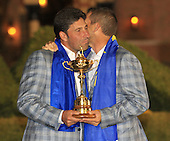 Winning captain Jose Maria Olazabal and Sergio Garcia with the Ryder Cup at the end of Sunday's singles matches at the Ryder Cup 2012, Medinah Country Club,Medinah, Illinois,USA 30/09/2012.Picture: Fran Caffrey/www.golffile.ie.