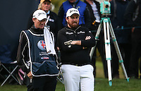 Waiting his turn to putt, Shane Lowry (IRL) in action during the Final Round of the British Masters 2015 supported by SkySports played on the Marquess Course at Woburn Golf Club, Little Brickhill, Milton Keynes, England.  11/10/2015. Picture: Golffile | David Lloyd<br /> <br /> All photos usage must carry mandatory copyright credit (&copy; Golffile | David Lloyd)