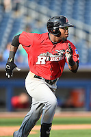 Frisco Rough Riders outfielder Chris Grayson (36) runs to first during the first game of a doubleheader against the Tulsa Drillers on May 29, 2014 at ONEOK Field in Tulsa, Oklahoma.  Frisco defeated Tulsa 13-4.  (Mike Janes/Four Seam Images)