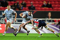Tom Dunn of Bath Rugby takes on the Bristol Rugby defence. European Rugby Challenge Cup match, between Bristol Rugby and Bath Rugby on January 13, 2017 at Ashton Gate Stadium in Bristol, England. Photo by: Patrick Khachfe / Onside Images