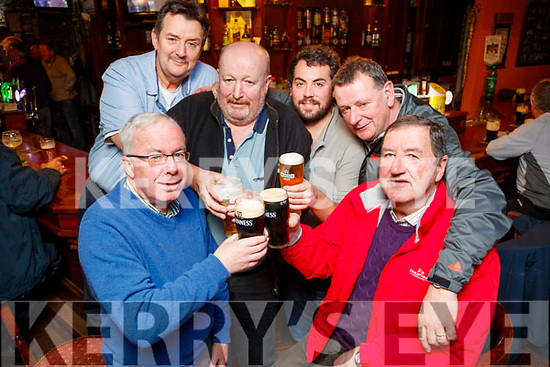 John O'Sullivan Vincent Sheehy John Brosnan Gareth O'Donnell Colm Sheehy and John Hayes, celebrating Men's Christmas in the Castle Bar, Tralee, on Friday night last.