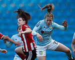 Nat Haig of Aston Villa challenged by Sam Tierney of Sheffield Utd during the The FA Women's Championship match at the Proact Stadium, Chesterfield. Picture date: 12th January 2020. Picture credit should read: Simon Bellis/Sportimage