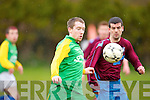 Camp United's James Scanlon and Spa Road's Jonathan Loughlane in action at Mounthawk park, Tralee on Sunday.