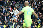 Real Madrid's Carlos Henrique Casemiro celebrates goal in presence of SSC Napoli's Pepe Reina during Champions League 2016/2017 Round of 16 1st leg match. February 15,2017. (ALTERPHOTOS/Acero)