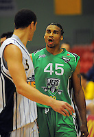 Jets import Daryl Hudson (right) discusses the weather with Craig Bradshaw. NBL  - Manawatu Jets  v Otago Nuggets at Arena Manawatu, Palmerston North, New Zealand on Sunday 5 June 2011. Photo: Dave Lintott / lintottphoto.co.nz