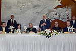 Palestinian President Mahmoud Abba visits a dinner at Franciscan monastery in the West Bank city of Bethlehem December 24, 2014. Photo by Thaer Ganaim