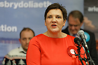 Pictured: Tonia Antoniazzi gives a speech after being announced as the winner of the Gower seat for the Labour party. Friday 13 December 2019<br /> Re: Ballots count at the Leisure Centre in Swansea, Wales, UK.