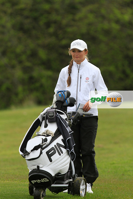 Sophie Lamb (ENG) on the 8th tee during Round 3 of The Irish Girls Open Strokeplay Championship in Roganstown Golf Club on Sunday 19th April 2015.<br /> Picture:  Thos Caffrey / www.golffile.ie