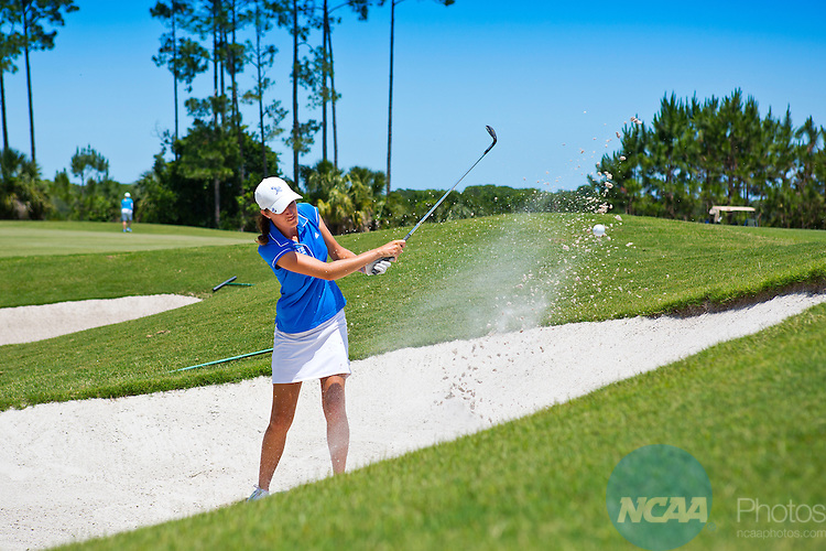 18 MAY 2013: Ellen Chambers of Lynn University gets out of the bunker during the Division II Women's Golf Championship held at the LPGA International Golf Course in Daytona Beach, FL.  Lynn University shot a +17 to win the national title by 3 strokes.  Matt Marriott/NCAA Photos