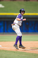 Sam Dexter (14) of the Winston-Salem Dash takes his lead off of third base against the Potomac Nationals at BB&T Ballpark on August 6, 2017 in Winston-Salem, North Carolina.  The Nationals defeated the Dash 4-3 in 10 innings.  (Brian Westerholt/Four Seam Images)