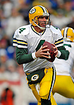5 November 2006: Green Bay Packers quarterback Brett Favre (4) looks downfield for an open receiver against the Buffalo Bills at Ralph Wilson Stadium in Orchard Park, NY. The Bills defeated the Packers 24-10. Mandatory Photo Credit: Ed Wolfstein Photo.<br />