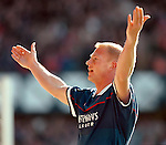 Jorg Albertz celebrates scoring against Aberdeen and celebrates to the Rangers support at Ibrox in 1997