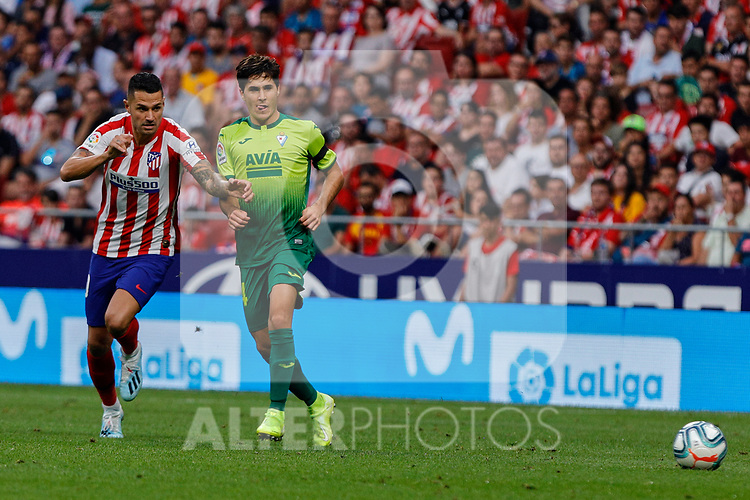 Victor Machin 'Vitolo' of Atletico de Madrid and Alvaro Tejero of SD Eibar in action during La Liga match between Atletico de Madrid and SD Eibar at Wanda Metropolitano Stadium in Madrid, Spain.September 01, 2019. (ALTERPHOTOS/A. Perez Meca)