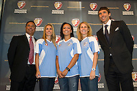 Boston Breakers head coach Tony DiCicco with allocation players Heather Mitts, Angela Hucles, Kristine Lilly, and WPS part-owner Steve Nash. The Women's Professional Soccer (WPS) US National Team Allocation Announcement at the Sports Museum of America in New York, NY, on September 16, 2008.