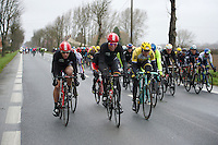 The peloton is blown into echelons by fearsome winds up to 80km/h right from the start of the race. Immediately race favorites need to come to the front to do their part of the echelon work (and to keep relatively safer from crashes)<br /> <br /> 77th Gent-Wevelgem 2015
