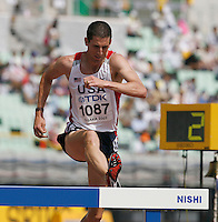 Tom Brooks  ran 8:56.20 in the 1st. round of the 3000m steeplechase on Sunday, August 26, 2007. Photo by Errol Anderson,The Sporting Image.Assorted images of the 11th. World  Track and Field Championships held in Osaka, Japan.