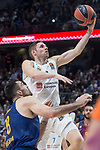 Real Madrid Fabien Causeur and FC Barcelona Lassa Pierre Oriole during Turkish Airlines Euroleague match between Real Madrid and FC Barcelona Lassa at Wizink Center in Madrid, Spain. December 14, 2017. (ALTERPHOTOS/Borja B.Hojas)