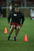 """9 February 2007: Ekom Udofia during a """"Friday Night Lights"""" practice at Stanford Stadium in Stanford, CA."""
